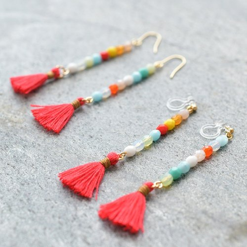Tassel earrings water drop /red