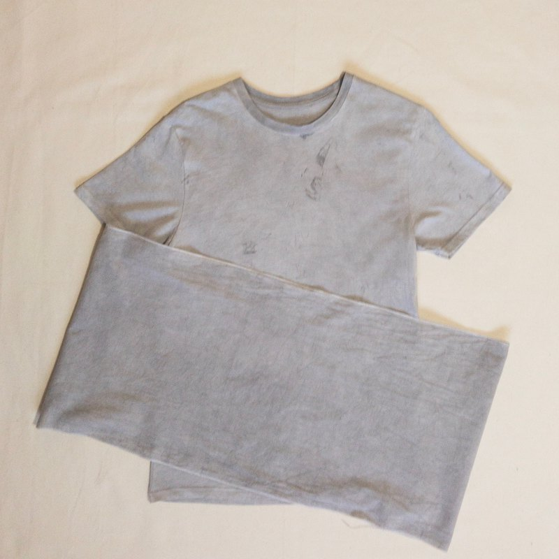 CHARCOAL MUD COLOR TEE, TENUGUI SET - Mudding dyed muddy organic cotton