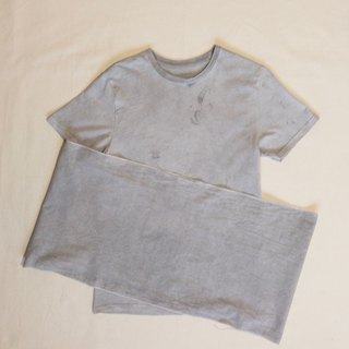 CHARCOAL MUD COLOR TEE, TENUGUI SET - Mudding dyed 泥染 organic cotton