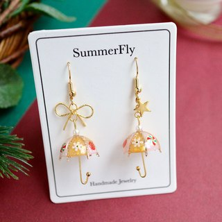 Christmas Limited - Snow White Gold Umbrella Dangle Earrings 18k Gold Bow Stars New Year Blessing New Year