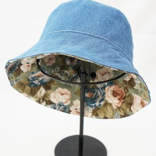 Grass green large flower X washed shallow cowboy handmade limited fisherman hat