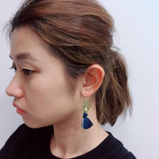 Blue xblue metallic luster double color tassel earring ear hook ear clip