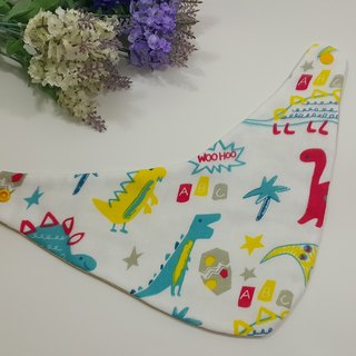 Dinosaur Scattered Double-filament 3 Layers Saliva towel bib (limited edition)