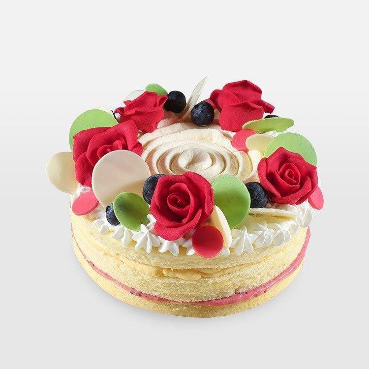 <巧思嗑系列>香草果香玫瑰園 7吋蛋糕