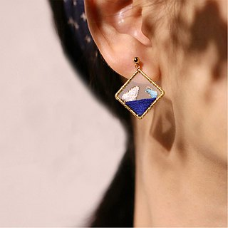 Yuansen hand made pure double-sided embroidery earrings nail wave