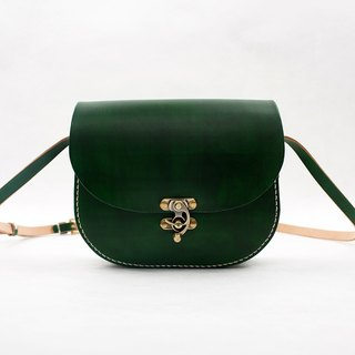 [Tangential] Mushrooms leather handmade retro saddle bag handbag female students bag Messenger bag malachite green
