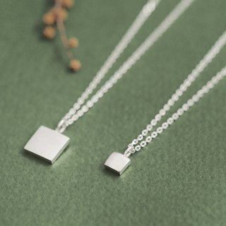 2 set) tiny square pair necklace silver 925