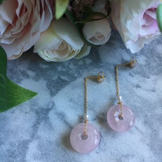 Rose Quartz Disc Gold Chain Pearl Earrings