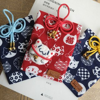 Goody Bag -sleeping original handmade [Lucky Cat combination] Coin purse + brooch + hanging