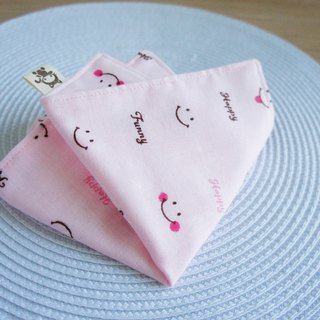 Lovely [Japan double yarn custom] smile Happy handkerchief, hand towel, saliva towel [Pink]