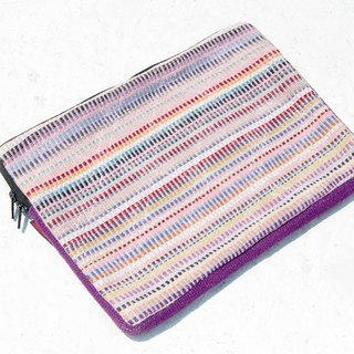 Valentine's Day gift limit a hand-stitching laptop bag / national wind bag / macbook laptop bag / hand-woven cloth bag / tablet computer sets - sunshine color red striped weaving (13 inches)