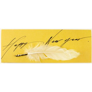 Feather pen handmade card Happy New Year Happy New Year