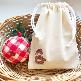 Christmas cat の daily canvas bundle pocket hand-printed Drawstring bag (Christmas gift)