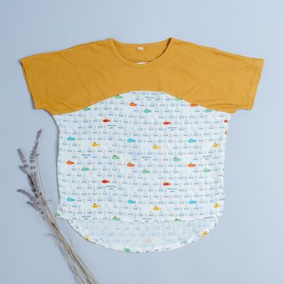 Double yarn T-shirt - mustard submarine hand made non-toxic children's clothing T-shirt cotton gauze towel