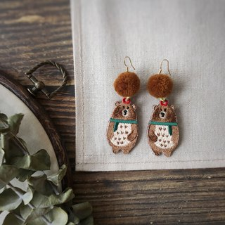Littdlework Hand Embroidered Earrings | Mr. Xiong and Mrs. Xiong <925 sliver>