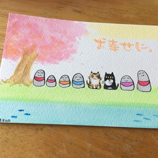 Hand painted postcards - meow and happiness to possession