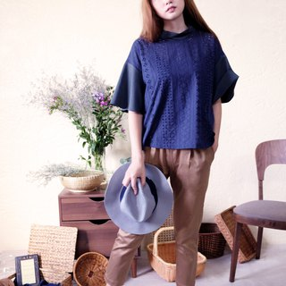 Green Navy Blue Navy Lace Wide Sleeve Top