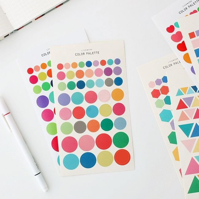 Livework-COLOR geometric sticker set - round, LWK37378