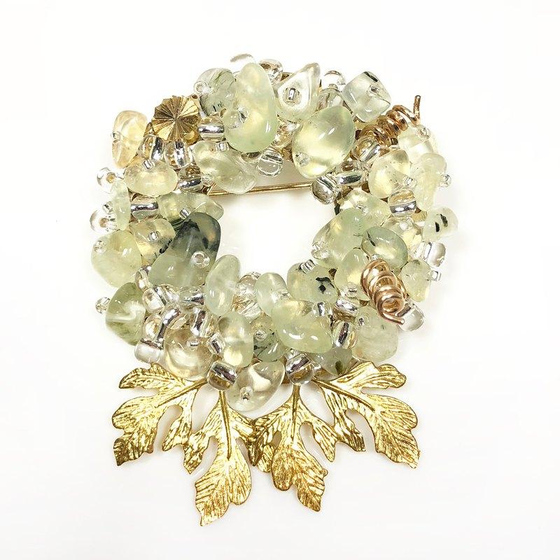 和風天然石胸針 植物胸針 日本風格胸針 新年禮物 情人節禮物