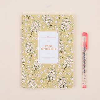 Spring Pattern Note Spring flowers notebook - yellow cherry