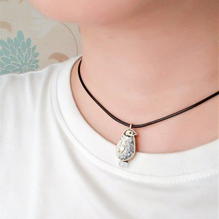Mosaic Mosaic King Penguin Baby Moonstone Sterling Silver Necklace Preorder