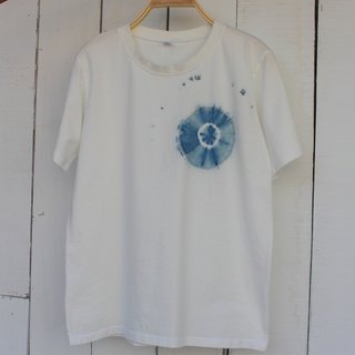 Free to stain isvara handmade blue dye pure series whirlpool cotton T-shirt