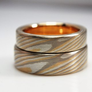 Element47 Jewelry studio~ Karat gold mokume gane wedding ring 22 (18KY/14KW/925)