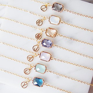 Customized sister gift, letter, gold-plated edging, square glass imitation gemstone, bracelet (6 colors)