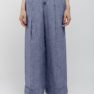 Linen Pleated Pants with Front Buttons Stripes