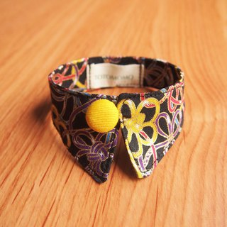 Multicolored knot dog cat button collar