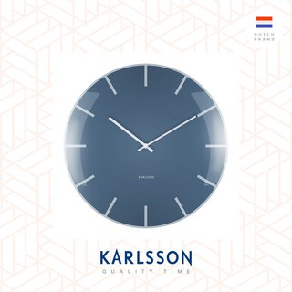 荷蘭Karlsson, Wall clock Glass Dome blue 玻璃凸面藍色掛鐘