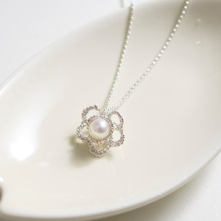 Three-dimensional lace flower pearl pendant necklace hand made 925 sterling silver necklace