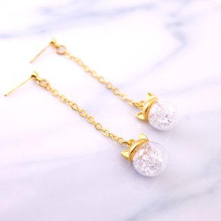 Cat Ear Shape with White Crystal Glass Ball Earrings