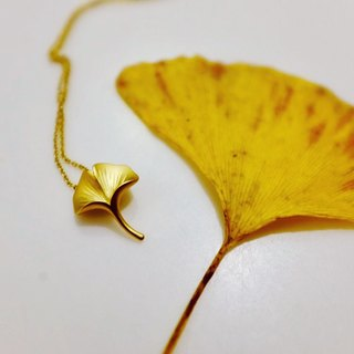 Elegant Cute Ginkgo Leaf 18K Gold Necklace