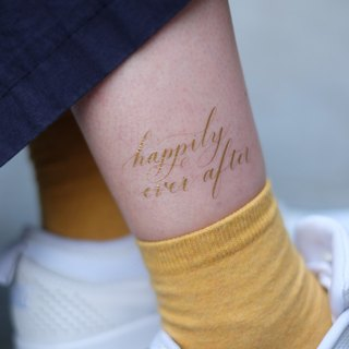 "cottontatt ""happily ever after"" gold / silver temporary tattoo sticker"