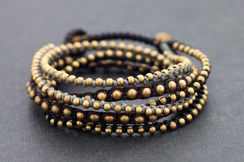 包裹串珠手鍊黃銅珠子包裹手鍊編織Monotone波西米亞風岩石