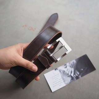Refined hand-stitched belt dark brown J&E horse leather high-end pure titanium buckle handmade leather design customized