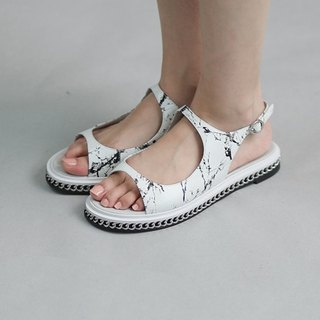 [Show products clear] oval hollow chain side leather sandals white marble