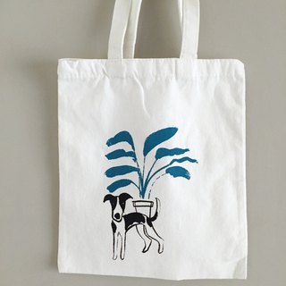 Dog and plant pure white canvas bag