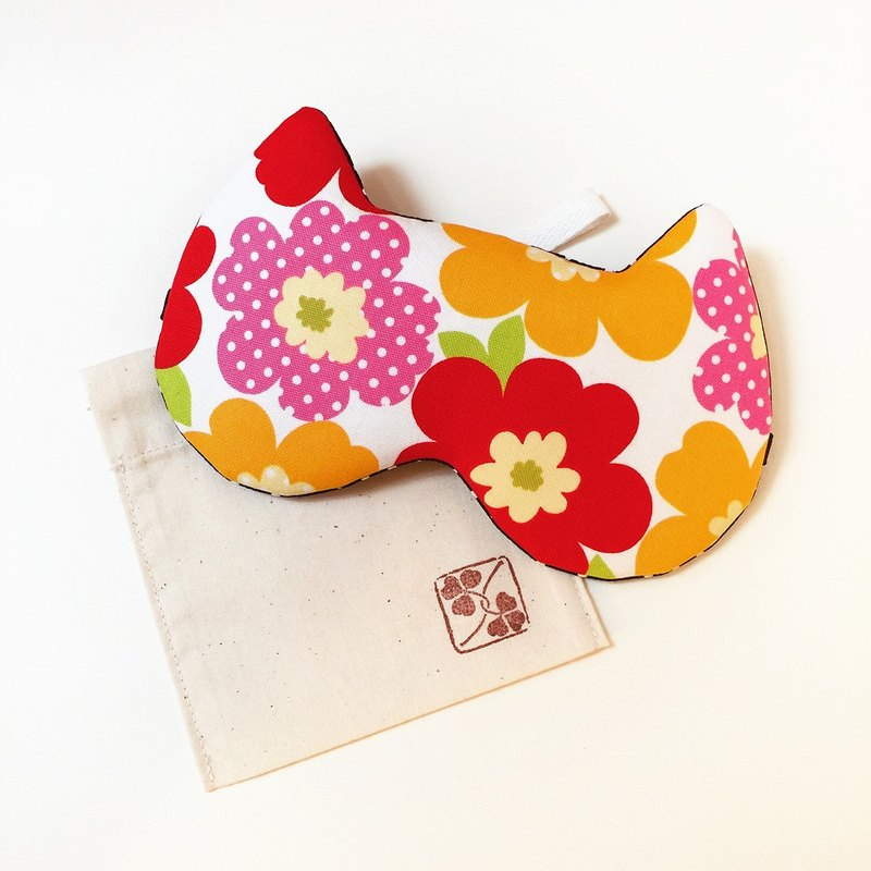 Night Cat Sleep Mask - Red Flower