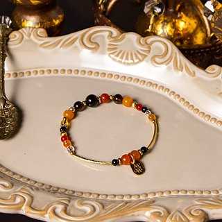 <Slow-tempered natural stone series>C1146-5 Orange Yellow Sun Brass Bracelet