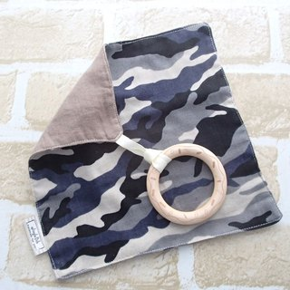 Baby Teething Blanket, Rattle  Wooden Toy, Japanese Cotton, Black Camouflage