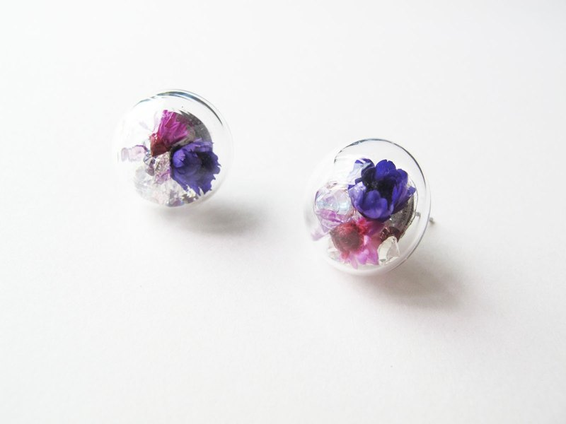 *Rosy Garden*浪漫紫色小雛菊水晶弧面玻璃耳環