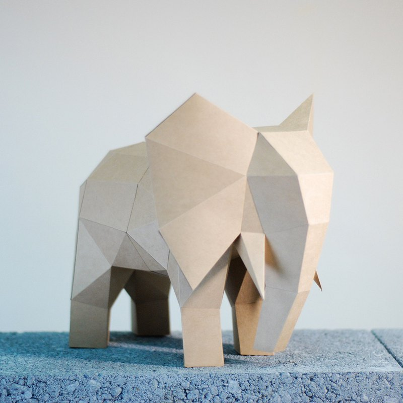 DIY手作3D紙模型擺飾 小動物系列 -大象 (4色可選)