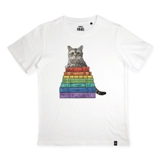 AMO®Original canned cotton T-shirt/AKE/The Cat Who Had Read Colorful Books