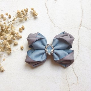 Matte texture two-color solid bow spring clip or intersecting clip (banana clip) / blue + gray