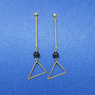 :: Blue triangle can change the clip-on Earrings / one pair / gold blue sand Fishing earrings / gift custom designs