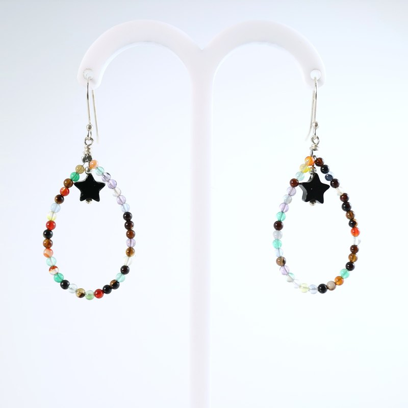 ColorDay] [color agate beads and black onyx sterling silver earrings small star _925 <Agate Silver Earring>