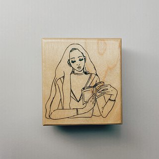 Reading room girl wood stamp