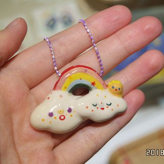 Ceramic Sunny Cloud with Rainbow Necklace